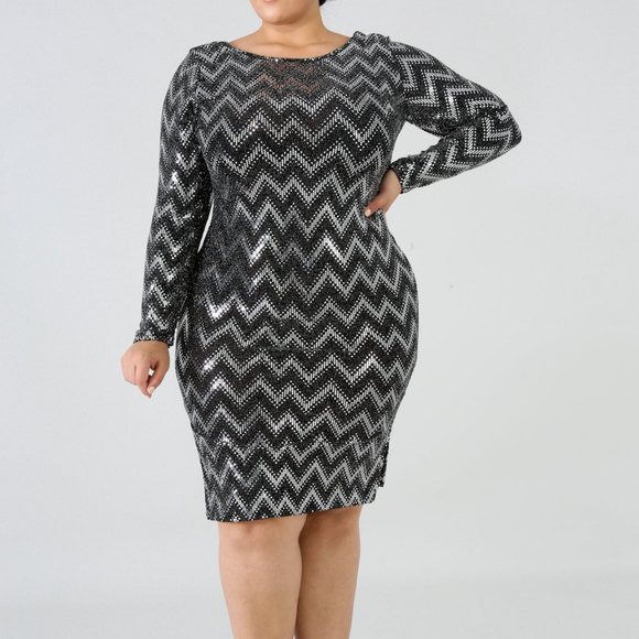 Plus Size Black & Silver Chevron Bodycon Dress Boutique
